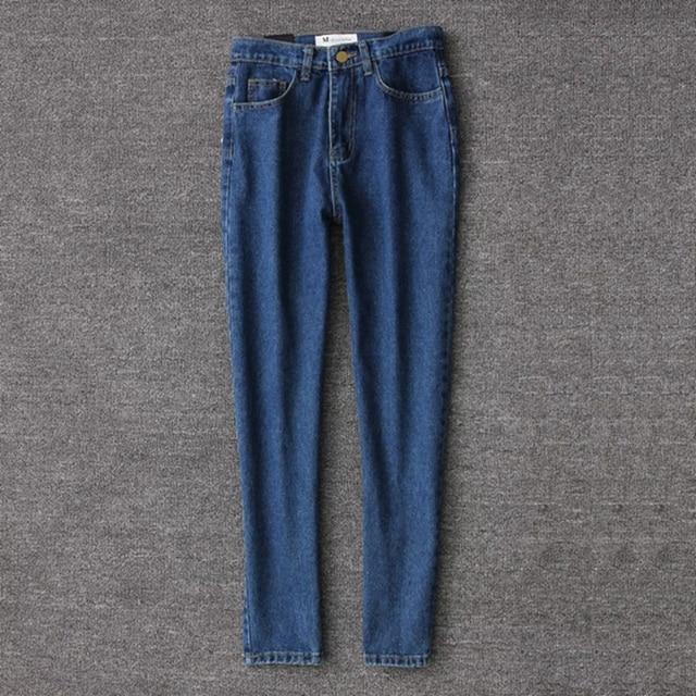 Vintage ladies boyfriend jeans for women mom high waisted jeans blue casual pencil trousers korean streetwear denim pants 2