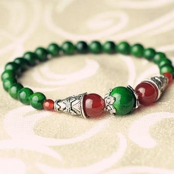 Natural Red / Dark Green / Black Stone Beads Tibetan Silver Bracelet Valentine's Gift Original Jewelry