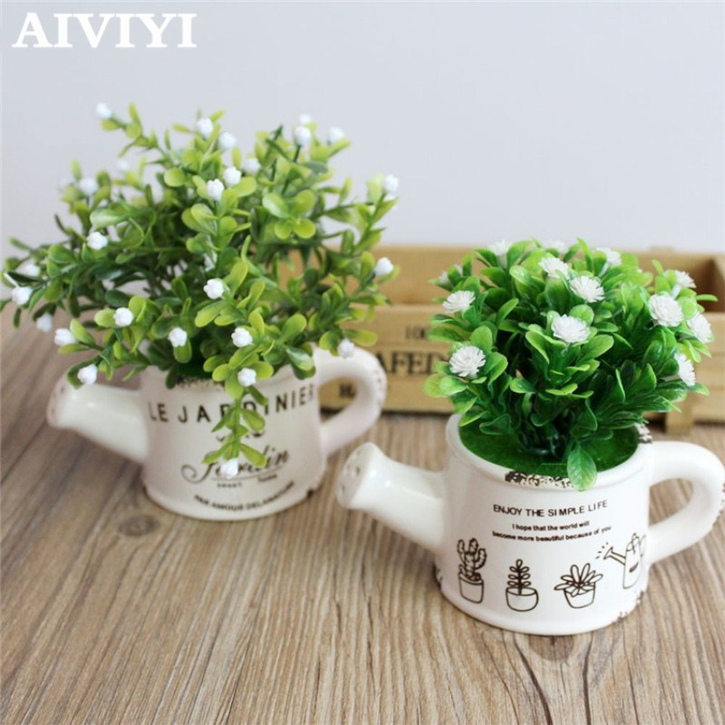 Artificial plastic milan flowers with Ceramics vase cute artificial flower set home decoration for wedding flowers decoration