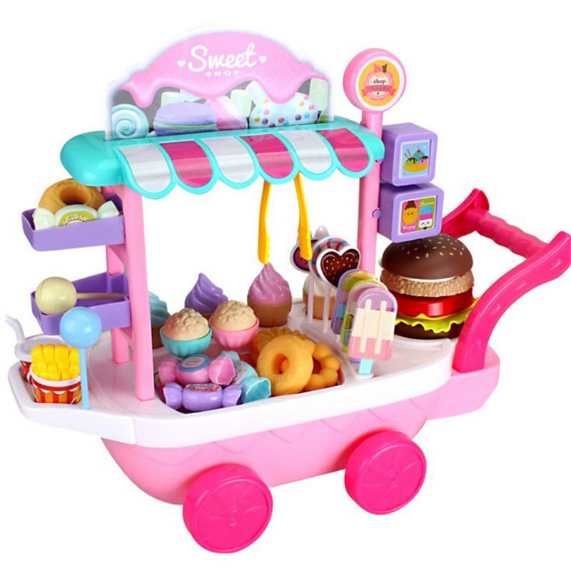 Pretend Play Kitchen Toys For Children Oyuncak  Mini Ice cream Candy Cart House Car Rotatable Toy For Girl 2-10 years old ice cream cart toy