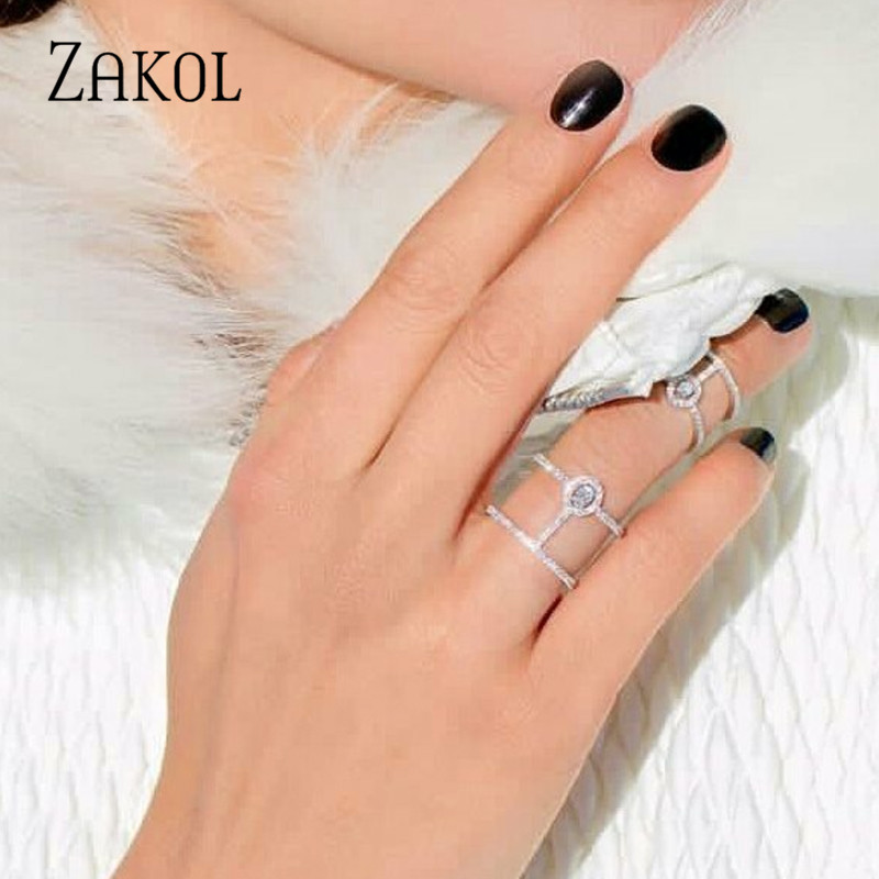 ZAKOL Punk Ring Set Cut Zirkonia Crystal Wedding Rings