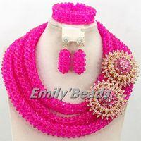 Marvelous Nigerian Wedding Afican Beads Jewelry Set Fuchsia Pink Crystal Beads Jewelry Set 2015 Handmade Free Shipping AMJ150