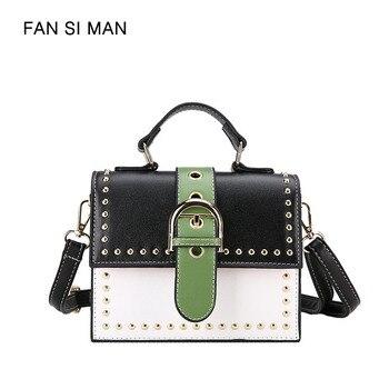 Fansiman 2018 Summer New Women Shoulder Bags Candy Color Panelled Female Handbags Belt Messenger Bag Ladies Crossbody Designer shoulder bag