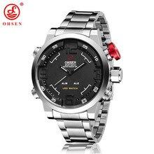 OHSEN Брендовые мужские военные часы мужские роскошные полностью Стальные кварцевые часы светодиодный дисплей спортивные наручные часы Водонепроницаемость 30 м