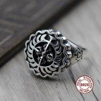 טבעת פתוחה כסף סטרלינג S925 צלב בסגנון קלאסי בודהיסטי יהלומים אישית טבעת מתנה לחברים ובני משפחה