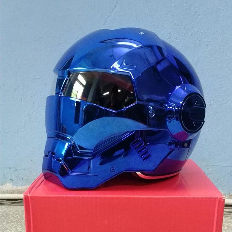 Masei vélo scooter moto electroplate bleu fer homme casque moto rcycle casque demi casque visage ouvert casque moto cross rapide s
