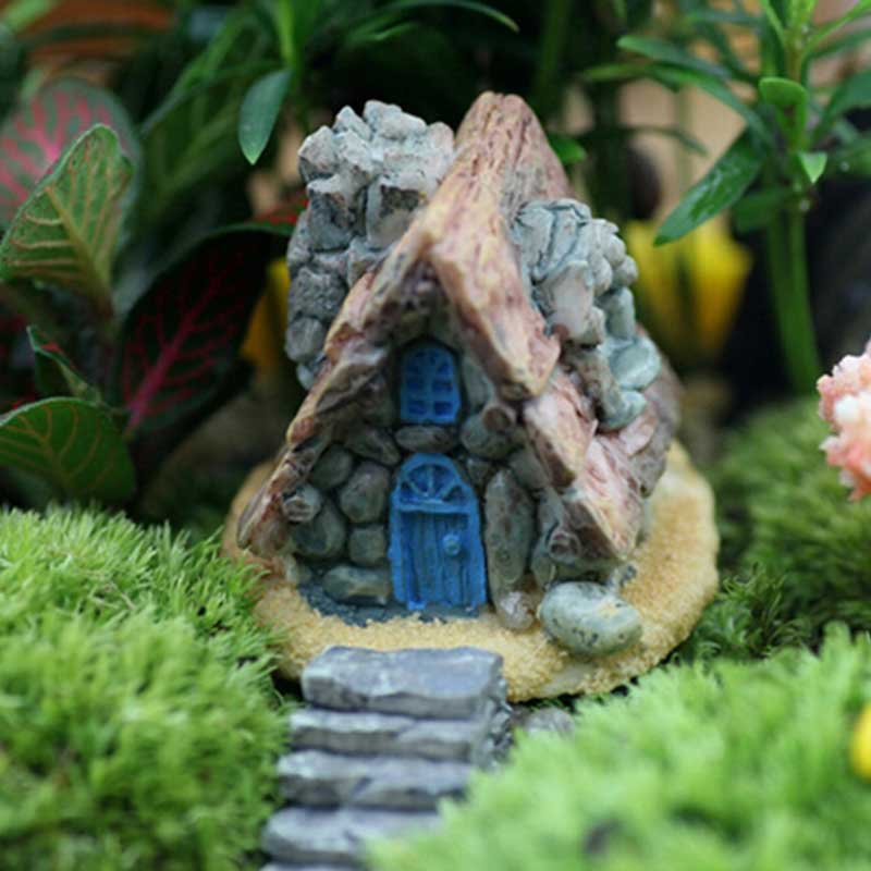 Stone House Fairy Garden Miniature Craft Micro Cottage Landscape Home Decor For DIY Resin Crafts Decoracao Casa  LBShipping