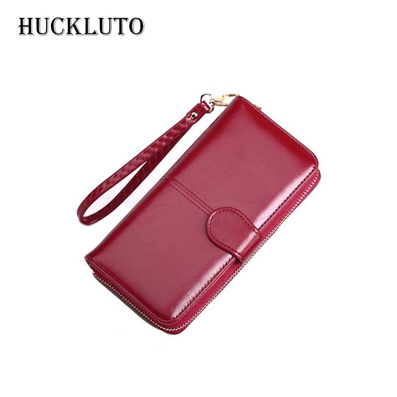 HuckLuto marque 2019 nouvelle réduction limitée de temps porte-carte à glissière de mode rose bleu fil grand portefeuille en cuir femmes portefeuilles