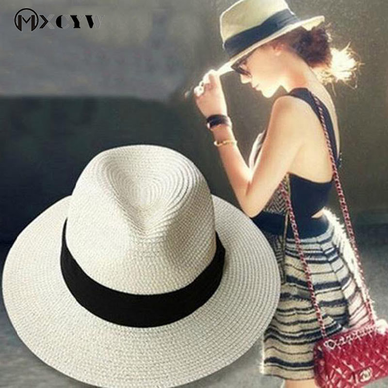 13fc6952a Details about 2018 New Fashion Summer Women Sun Caps Straw Hat Female  Casual Panama Hat