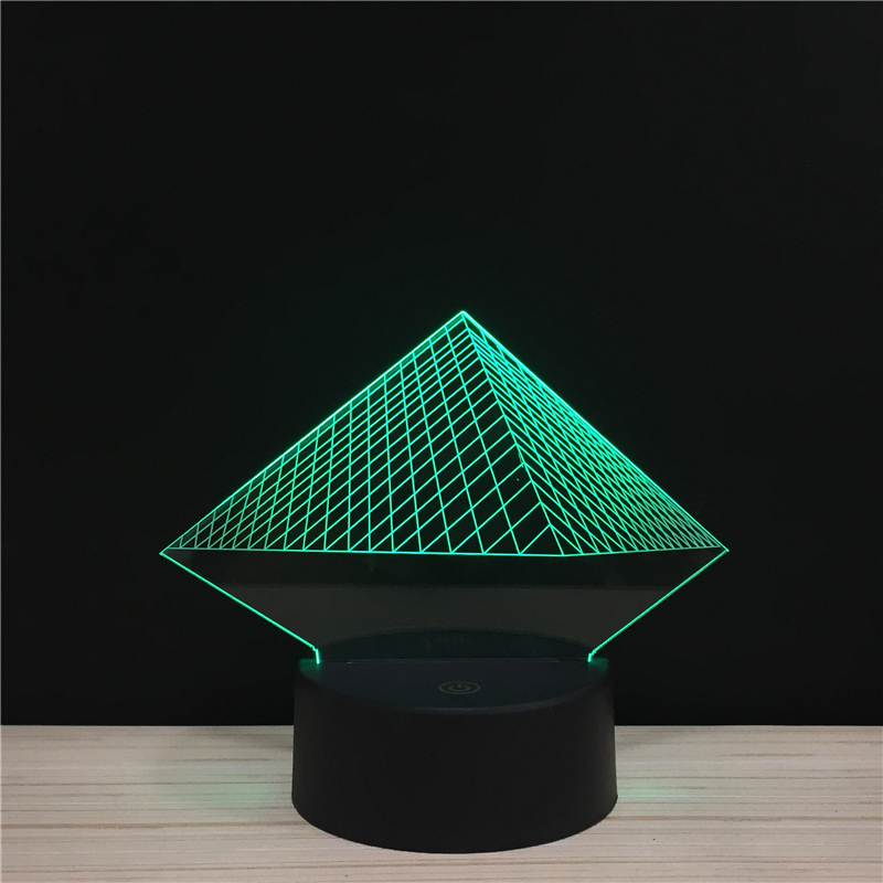 LED 3D Pyramid The Ancient Egyptian Temple NightLight Acrylic Night Lamp Light With Touch And Remote Lamps Lights Kid Decoration
