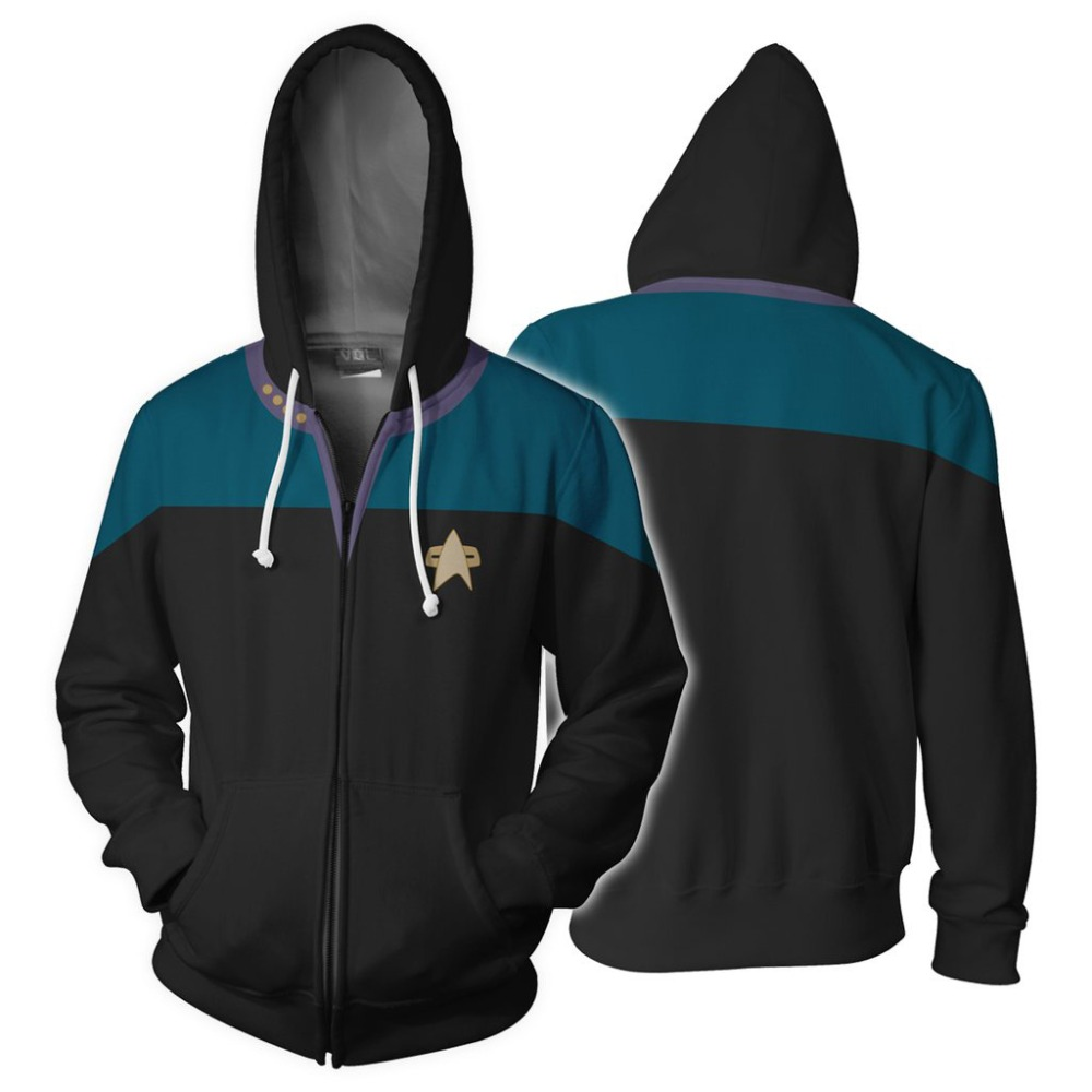 3D Print Star Trek Sweatshirts Men Long Sleeve Zipper Hooded Sweatshirts Cardigan Cosplay  Hip Hop Coat Outfit jacket