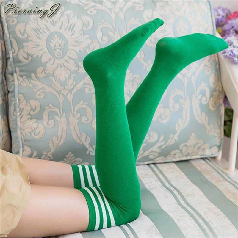PiercingJ новый подростков платье для девочек в полоску трубки платья выше колена гетры до бедра Косплэй носки