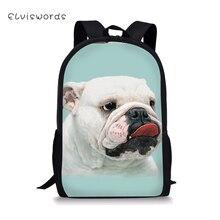 ELVISWORDS School Backpack For Teenager Girls Boys Dogs Printing Cute Schoolbag Casual Women Travel Rucksack