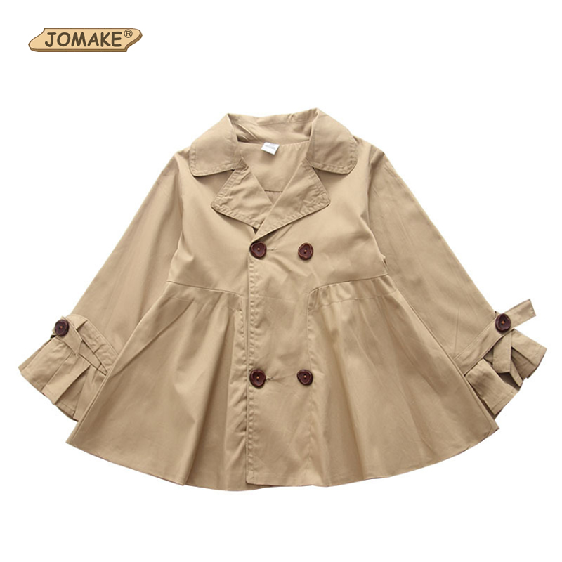 JOMAKE Autumn 2018 New Fashion Girls Coat Windbreaker   Trench   Kids A-Line Sweet Long Sleeve Coat Children Clothes 2-7T Outerwear