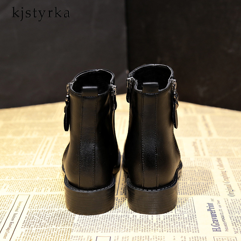 Kjstyrka 2018 fashion women boots high quality low heels ladies ankle boats winter boots women Patent leather Patent leather 3