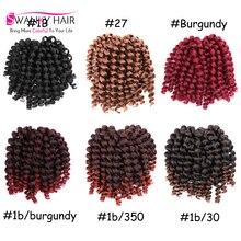 New Arrival Freetress Crochet Braids Jumpy Wand Curl Jamaican Bounce Crochet Hair Brown Braiding Hair 8Inch Kanekalon Jumbo Hair