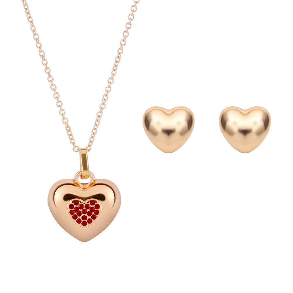 Romantic Bridal Crystals Wedding Heart Jewelry Sets Earrings Necklaces Party Accessories Mother s Day Gifts