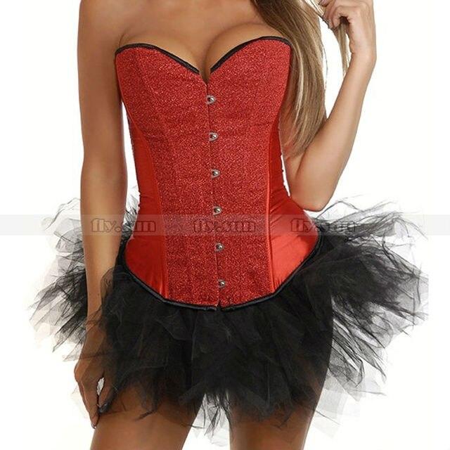 Красный пайетки бурлеск костей Overbust верхняя одежда корсет бюстье сексуальный костюм + черный пачка юбка S M L XL 2XL