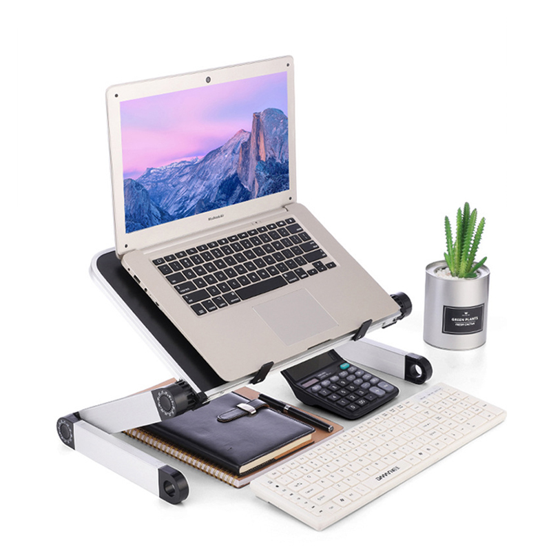Image 3 - Aluminum Alloy Laptop Portable Foldable Adjustable Laptop Desk Computer Table Stand Tray Notebook Lap PC Folding Desk Table-in Laptop Desks from Furniture