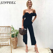 SINFEEL Sexy Strapless Backless Off Shoulder Black Jumpsuit Women Ruffle High Waist Long Jumpsuits Romper Casual Overall Femme