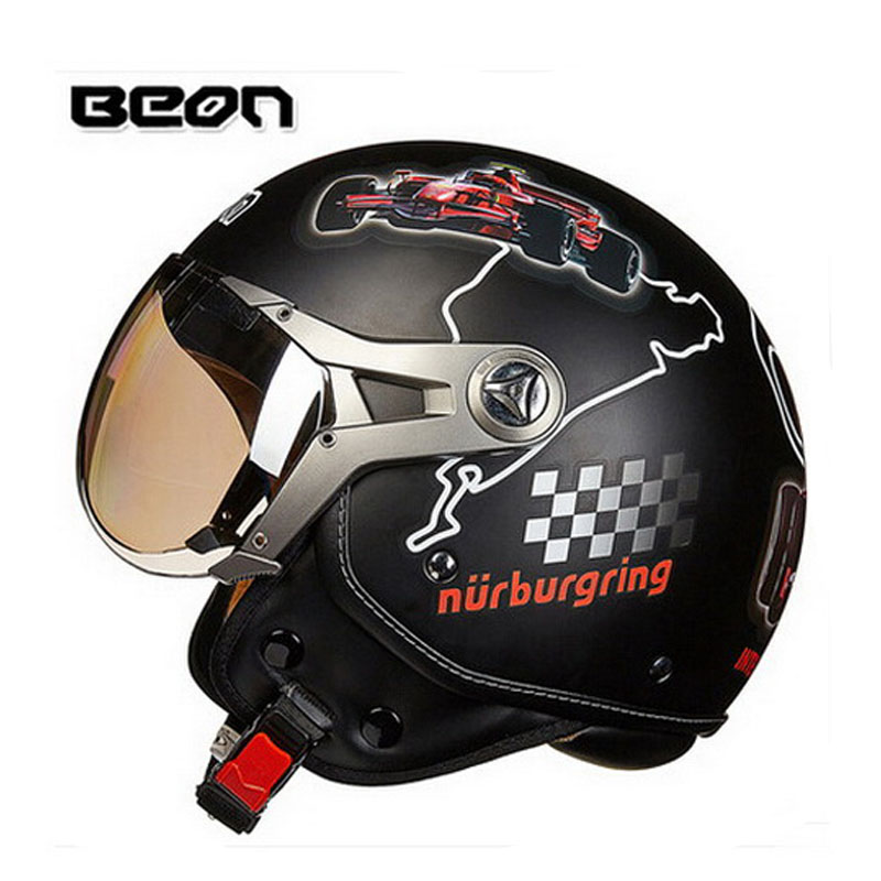 2016 New Netherlands authorization BEON Retro Air Force half face motorcycle helmet motorbike helmets made of ABS PC lens B-100 2016 newest netherlands authorization beon retro air force harley style half face motorcycle helmet b 100 of abs matte black cat