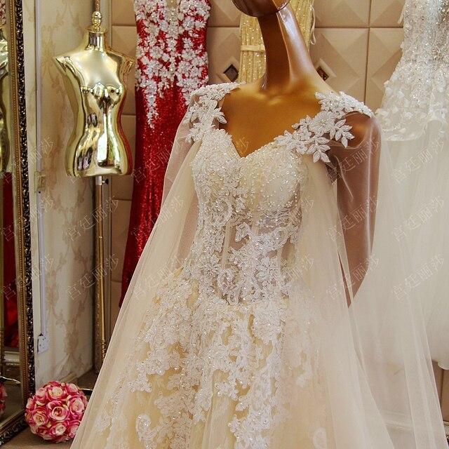 Echt Proben Kristall Hochzeit Kleid Mit Umhang Plus Größe Spitze ...
