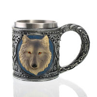 3D Design 350ml Colorful Wolf Mug 12oz Double Wall Coffee Cup Tea Cup
