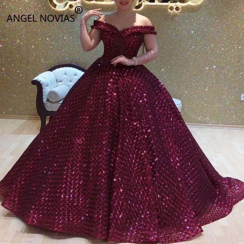 Angel Novias Long Purple Ball Gown Puffy Plus Size Arabic Dubai