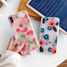 Pretty red rose camellia flower capa phone case for iphone 6 s 8 7 plus xs max floral relief silicone soft cover xr x