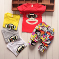 2016 New Summer baby Sport suit 100% cotton fashion design baby boys Brands clothing set for 1 2 3 Years Old free shipping