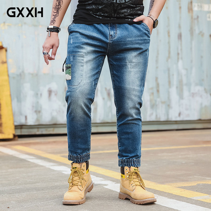 GxxH New large size Cowboy Beam Leg pants 2018 Spring and Autumn waist Stretch Straight Blue jeans Fashion Casual Trousers 6XL