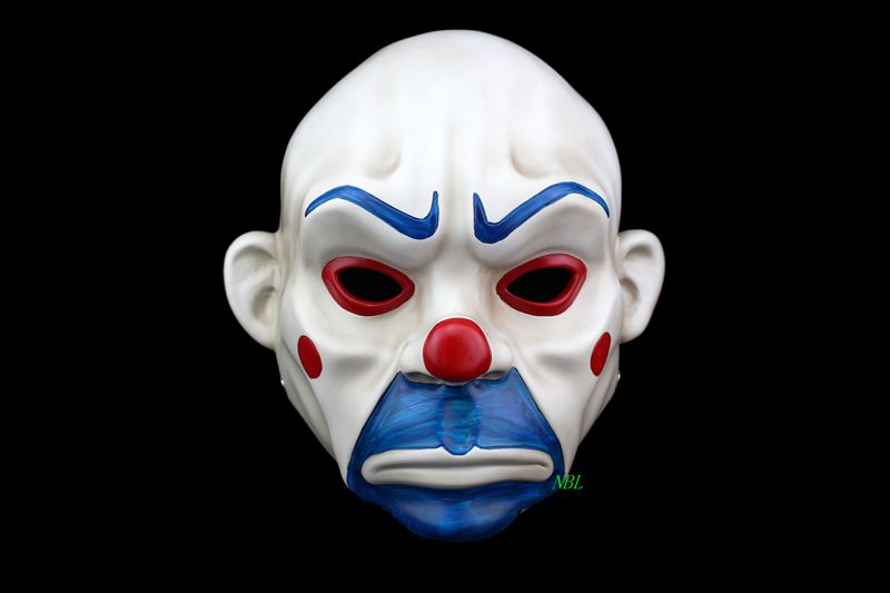 Batman Film Joker Clown Mask Bank Robber Masque Resin Masks For Adult Full Face Dark Night Costume Halloween Party Hot Selling