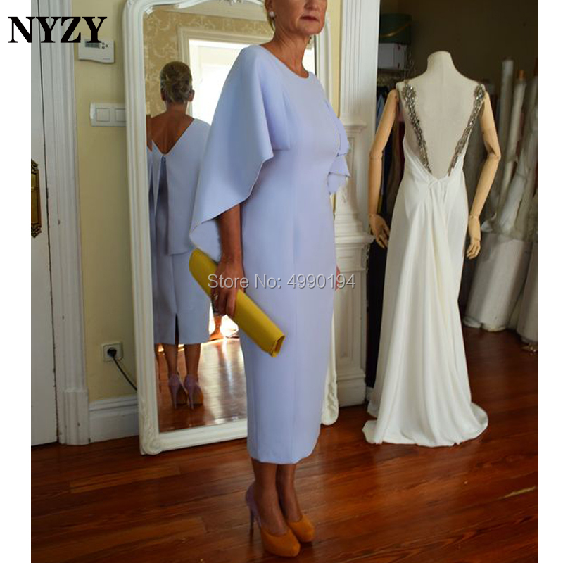 NYZY M164 Simple Elegant Cape Sleeve Robe Cocktail Formal Dress Tea Length Blue Mother Of The Bride Groom Dresses 2019