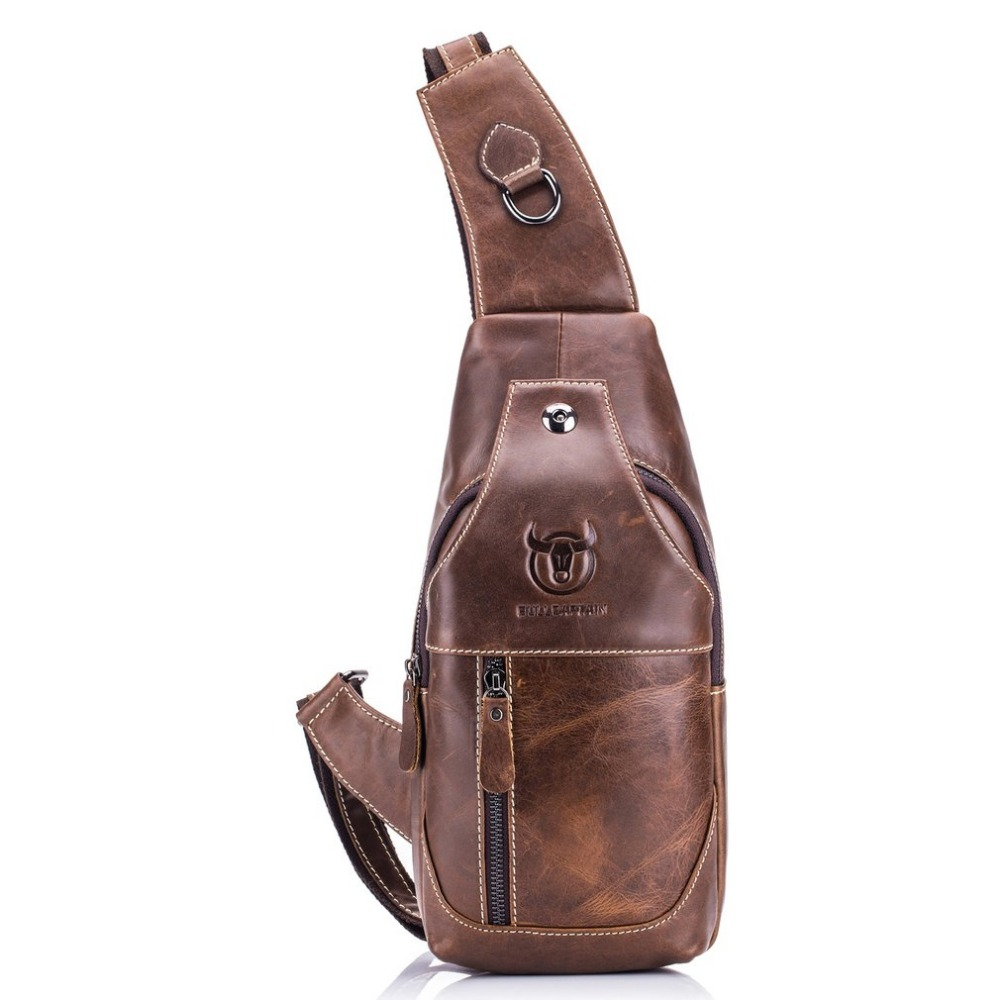 High Quality Men Genuine Leather Cow Leather Vintage Sling Chest Back Day Pack Travel fashion Cross Body Messenger Shoulder Bag high quality men genuine leather cowhide vintage sling chest back day pack travel fashion cross body messenger shoulder bag