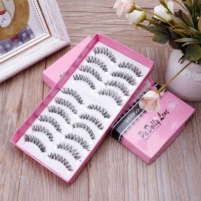 Hot 10 Pairs/Pack Natural Cross False Eyelashes Makeup Eye Lashes Extension HS-8 New Pro