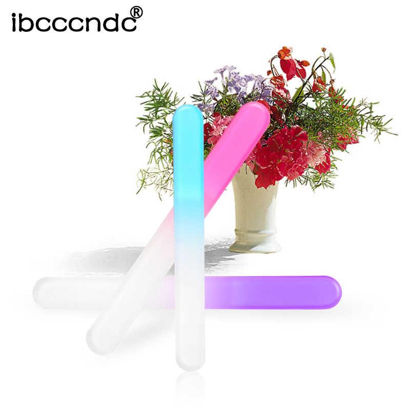 4 unids/lote lima de uñas duradera cristal tampón uñas arte manicura dispositivo Pro herramientas de pulido Color al azar para arte de uñas diseño