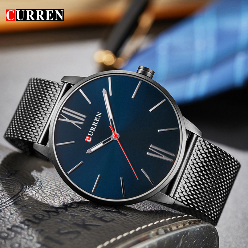 Men's Fashion Casual Business Wristwatches Curren Watches Men Brand Luxury Full Steel Quartz Watch Male Clock Relogio Masculino curren watches mens luxury brand black full steel waterproof analog quartz watch men fashion casual business wristwatches 8050