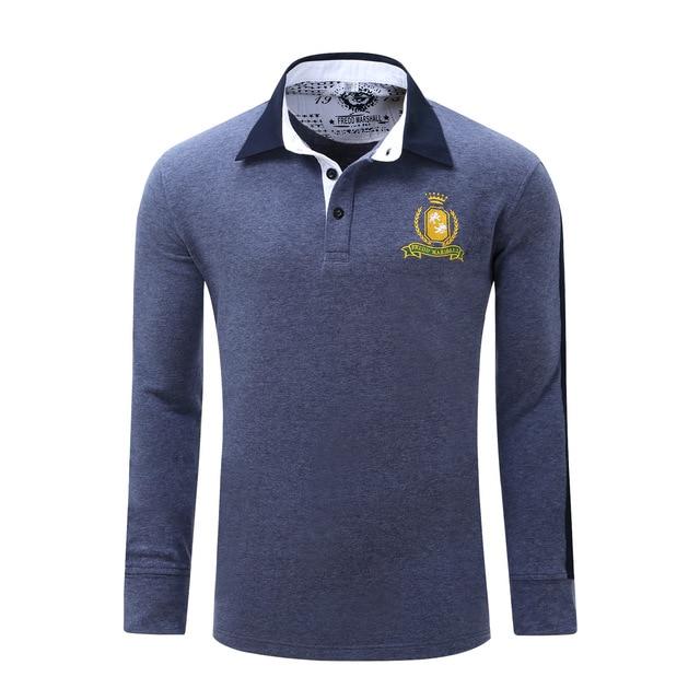 Fashion Mens Polo Shirt Long Sleeve Fredd Marshall Brand 2017 Mans   Casual Slim Collar Cardigan Polos Gray Red Men Blue 051