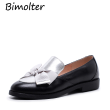 Bimolter Spring Autumn Genuine Leather Oxford Fltas Women Ribbon Butterfly-knot Round Toe Loafers Girls Sweet Dress Shoe LFEB016