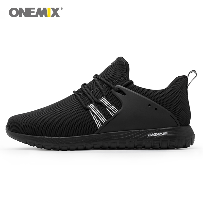 цены Onemix men's running shoes outdoor sport sneakers in black for lover walking shoes white women jogging sneakers size EU35-46