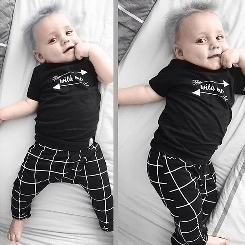 2016 summer New coming bebe clothes baby boys clothing girl set t-shirt top+full length pants suit vestidos - Brown Bear store