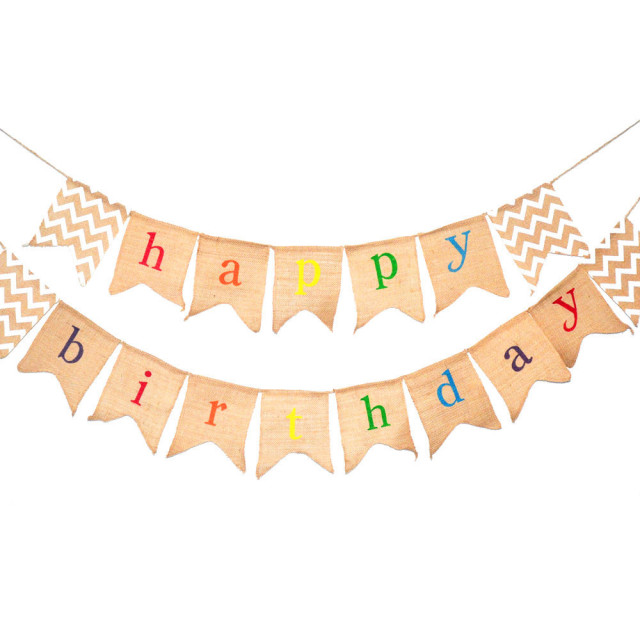 Rustic Burlap Happy Birthday Banner Flags Party Decorations Hanging Bunting Baby Shower Photobooth