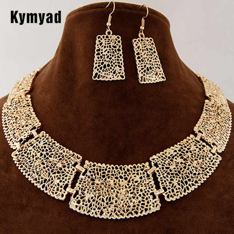 Kymyad African Indian Jewelry Set Flower Hollowed Jewelry Sets Chunky Necklace Earrings Set For Women Jewellery Accessories