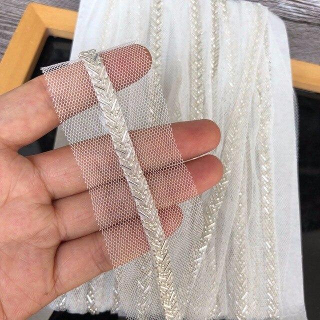 Off לבן חרוזים התחרה Trim תפירת בגד צווארון DIY סרט בד קלטת כיסוי ראש חומרי תחרה חוט נטו