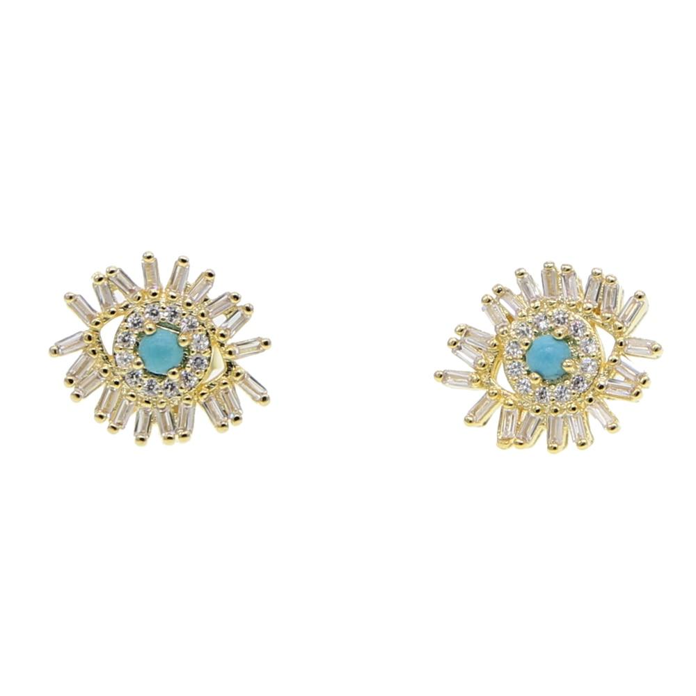 Buy Cheap Gold Silver 2 Color Baguette Cubic Zirconia Cz Firework Studs Lucky Eye Stud Earring For Girl Women