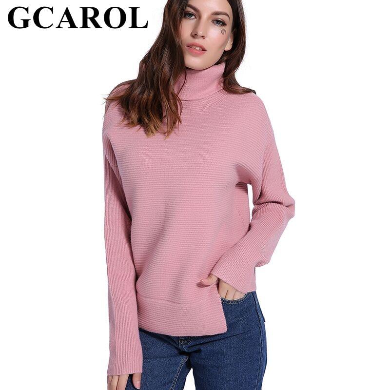 GCAROL 2018 Otoño e Invierno 20% lana suéter de cuello alto grueso cálido alto calle las mujeres de punto jersey Oversize Jumper en 3 colores