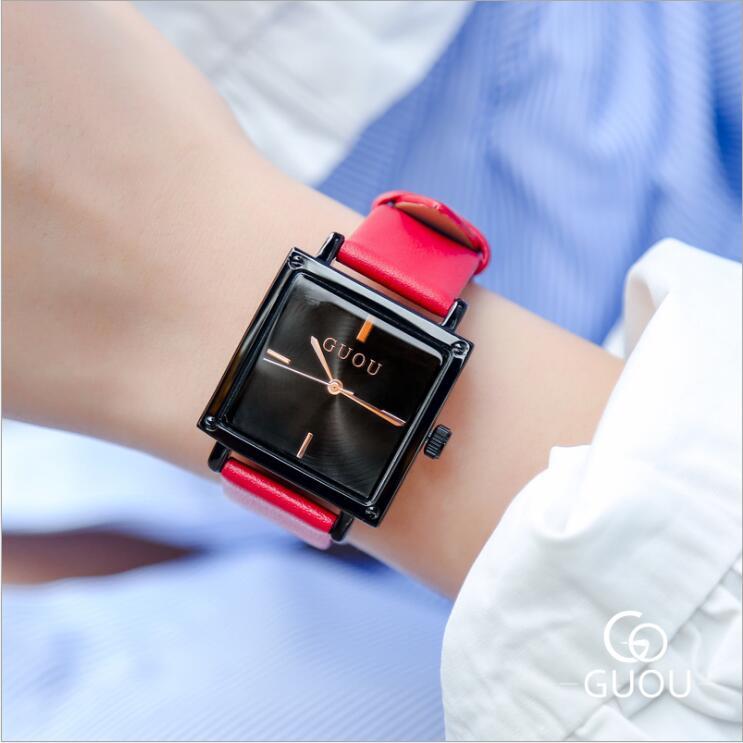 New GUOU Women Watches Fashion Square Watch Women Top Luxury Brand Leather Watch Clock Relogio Feminino Reloj Mujer Saat