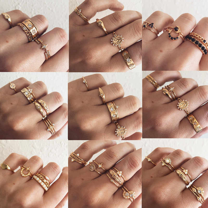 DIEZI 10 Styles Vintage Gold Color Knuckle Ring Flower Crown Heart Moon Star Crystal Vintage Boho Joint Ring for Women Jewelry