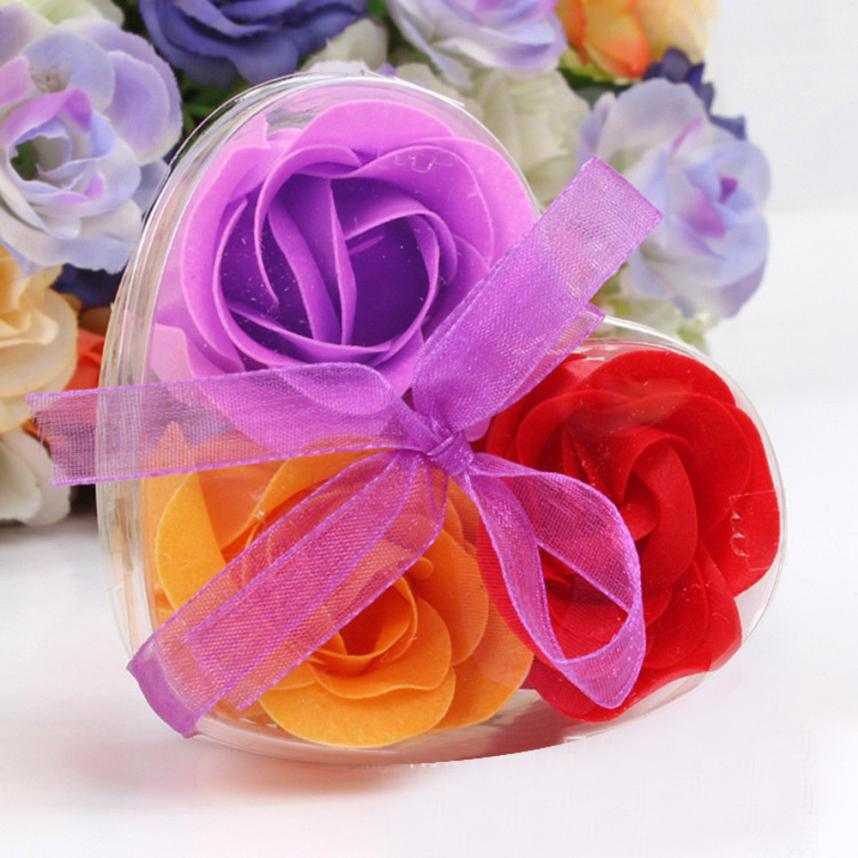 Soap Wedding-Party-Gift Modern Pastoral European of Flower Wu4 3pcs Scented Romantic