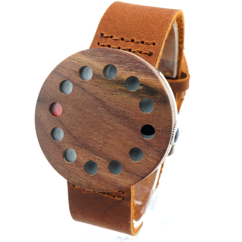 2017 New Mens Watches Wooden Wristwatch Brown Genuine Leather Band Japan Move Quartz Wood Watches for